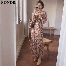 Корейское тонкое женское платье с высокой талией винтажное длинное