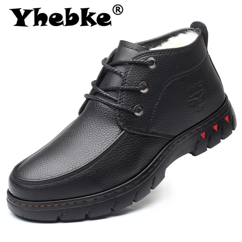Yhebke Brand Men Winter Shoes High Quality Soft Microfiber Leather Men Boots Warm Comfortable Botas Masculinas Male Shoes