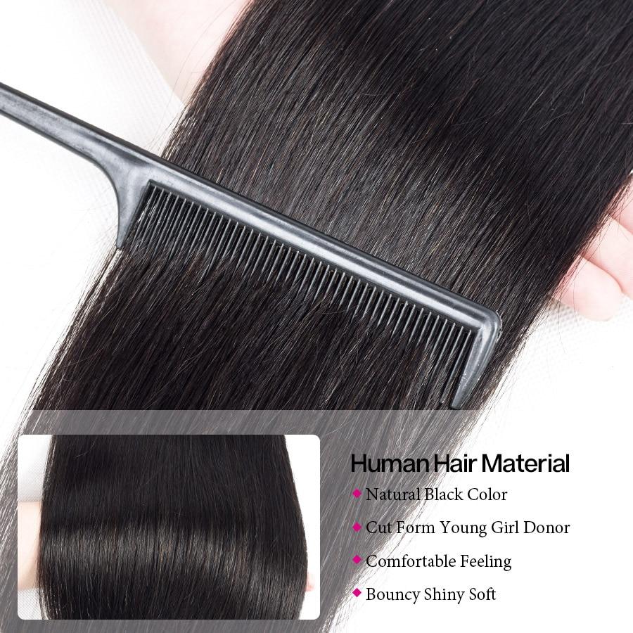 H608b48c4762a42db94a150731a094d795 Cynosure Brazilian Straight Hair Weave 3 Bundles with Closure Natural Black Remy Human Hair Bundles with Closure