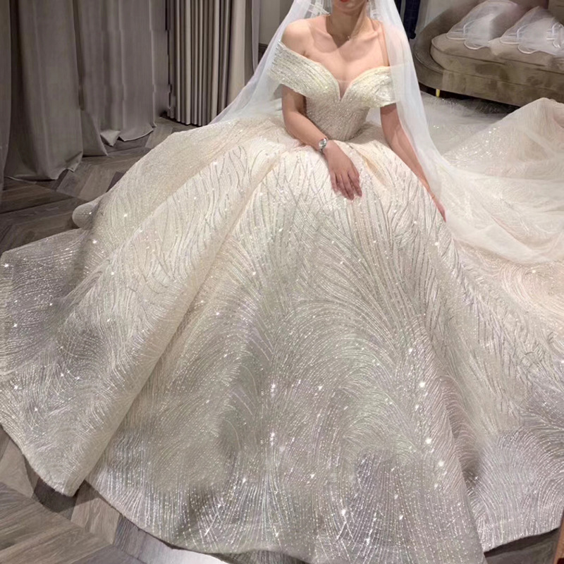 Mrs Win Wedding Dress Elegant Boat Neck Sweep Train Ball Gown Off The Shoulder Princess Luxury Bling Bling Sequins Wedding Gowns