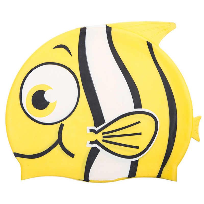 ป้องกันหูหมวกว่ายน้ำเด็กซิลิโคนกันน้ำเด็ก Piscina สระว่ายน้ำหมวกยืดหยุ่นปลาการ์ตูนดำน้ำหมวก
