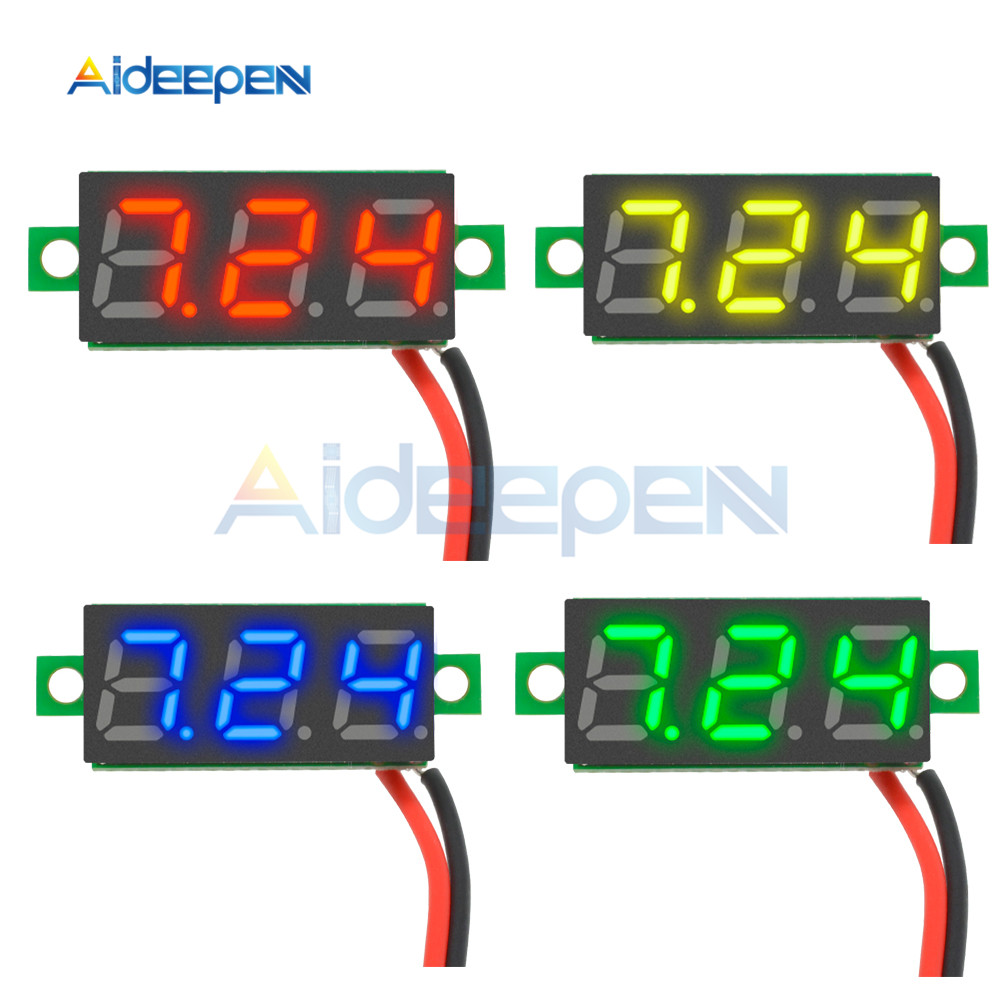 0.28 Inch DC 2.5-30V Mini Digital Voltmeter Voltage Tester Meter LED Screen Electronic Parts Accessories Red Yellow Blue Green
