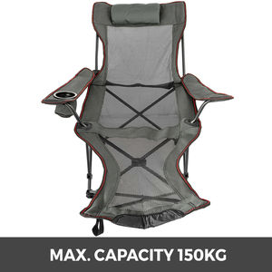 Image 2 - VEVOR Reclining Folding Camp Chair with Footrest Portable Nap Chair for Outdoor Beach Sun Camping Fishing Lounge Chair