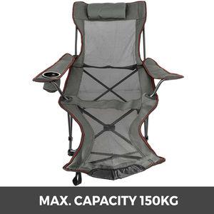 Image 2 - VEVOR שכיבה מתקפל מחנה כיסא עם הדום נייד כיסא תנומה עבור חיצוני חוף שמש קמפינג דיג טרקלין כיסא