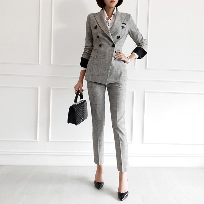 New Fashion Autumn Women High Quality Temperament Double-breasted Suit And Fashion Pencil Pant Work Style Plaid Slim Pant Suit
