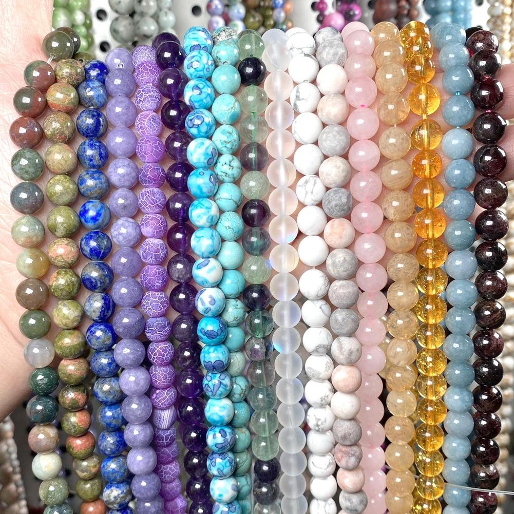 Natural Round Agates Tiger Eye Hematite Lava Amazonite Turquoises Jaspers Garnet Spacer Stone Beads For Jewelry Making Bracelet