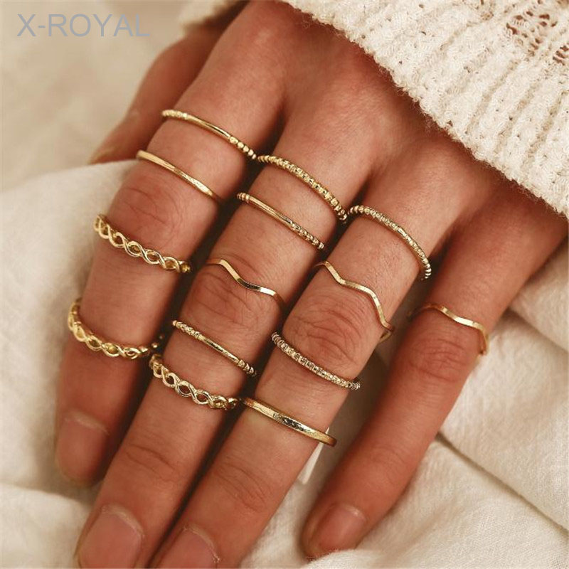 X-ROYAL 14Pcs/set  Bohemian Style Women Fashion Rings Antique Gold Metal Geometric Party Wedding Jewelry Finger Ring Suit