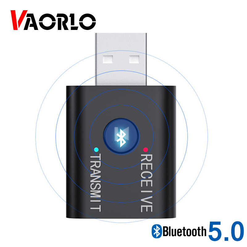 VAORLO Bluetooth 5.0 Audio Receiver Transmitter Mini 3.5mm Jack AUX USB Stereo Music Wireless Adapter for TV Car PC Headphone BT