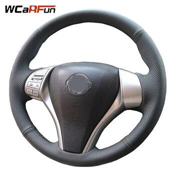 WCaRFun Genuine Leather Car Steering Wheel Cover for Nissan Teana Altima 2013-2016 X-Trail QASHQAI Rogue 2014-2016 Sentra Tida