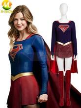 Supergirl Cosplay Costume Supergirl Jumpsuit Skirt Superhero Carnival Halloween Leather Costumes For Women Custom Made