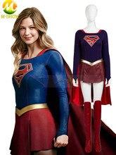 Supergirl Cosplay kostüm Supergirl tulum etek süper kahraman karnaval cadılar bayramı deri kostümleri kadınlar için özel yapılmış