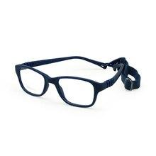 Monture de lunettes pour garçons et garçons, avec sangle, Flexible, pliable, sans vis, sécuritaire, optique, une pièce, 43/16