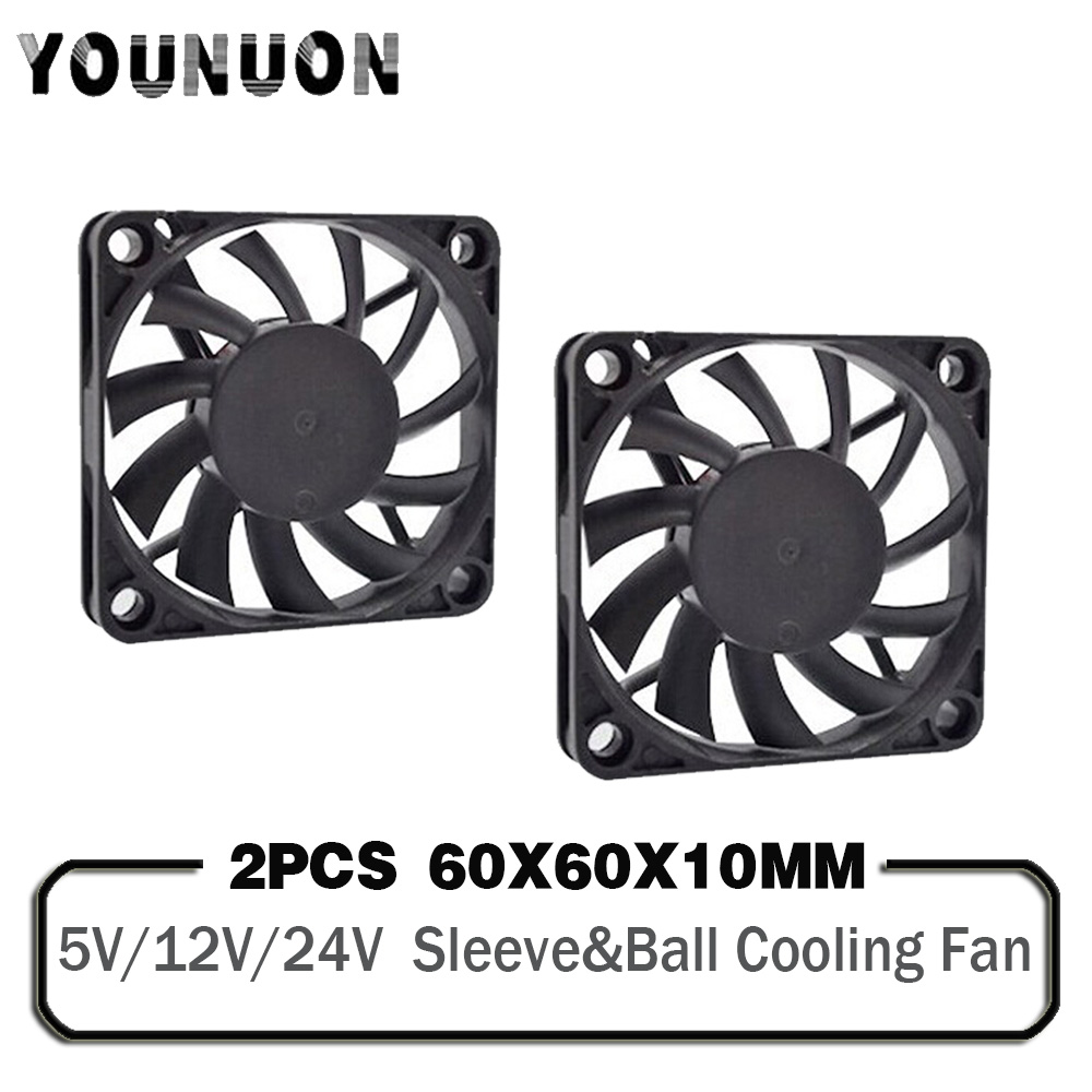 2PCS <font><b>60mm</b></font> <font><b>5V</b></font> 12V 24V Brushless USB 2PIN 3PIN DC Cooler <font><b>Fan</b></font> 60x60x10mm 6010 6cm For Computer PC CPU Case Cooling image