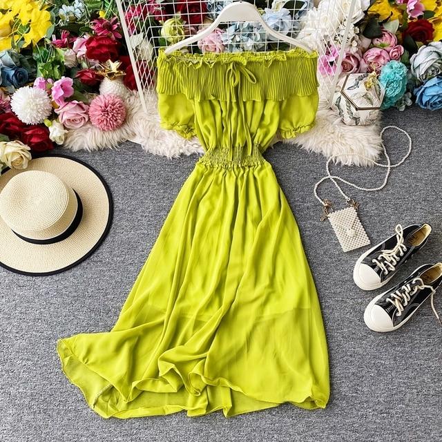 2020 New Arrivals Temperament Summer Dress Femme Chic Fairy Slash Neck Short Sleeved Ruffled Maxi Dresses Party Robe Verano