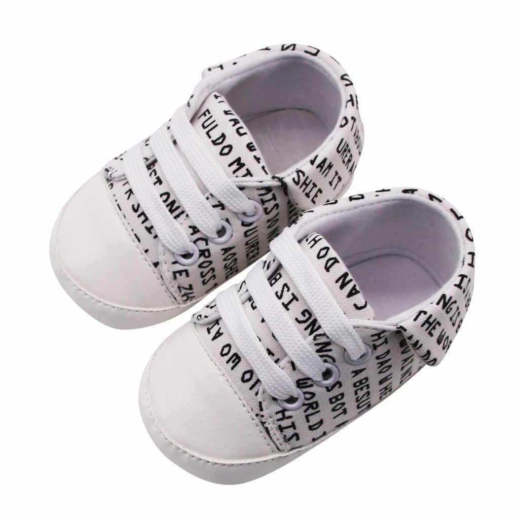 Zapatos de lona de algodón para bebés, niños y niñas recién nacidos, carta niñas bebé, impresión Prewalker, suela suave