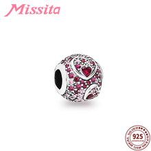 MISSITA 925 Sterling Silver Love Heart Red Crystal Charm fit Brand Charm Bracelet DIY Jewelry Women Jewelry Accessories Gift bamoer valentine day gift 925 sterling silver cheers for love couple beer pendant charm fit charm bracelet diy jewelry scc478