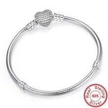 Браслет-цепочка женский из серебра 925 пробы с застежкой в виде сердца