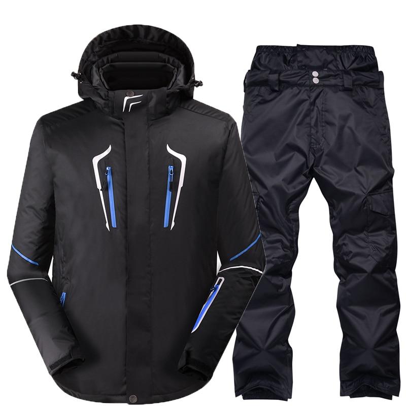 2019 Men's Ski Suit Waterproof Windproof Ski Jacket + Trousers Thicken Warm Clothing Pants Men Snowboard Mountaineer Clothes