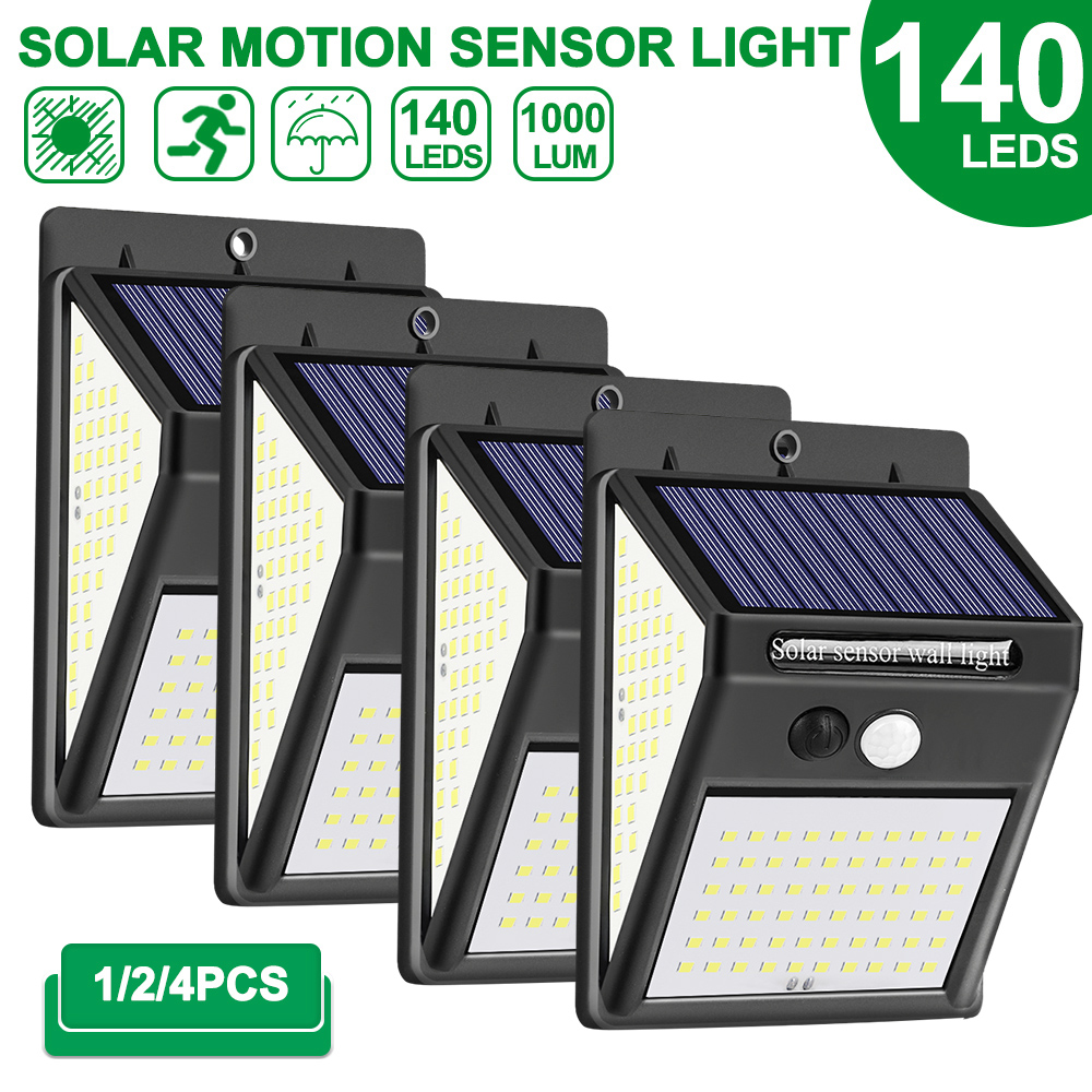 1/2/4pcs 140 LED Outdoor Solar Light PIR Motion Sensor Wall Light Waterproof Solar Lamp Solar Powered Sunlight Garden Decoration