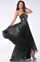 new arrival Empire Chiffon Sleeveless evening gown Applique Long evening party Beach Strapless Ruched Bust Black Evening Dress