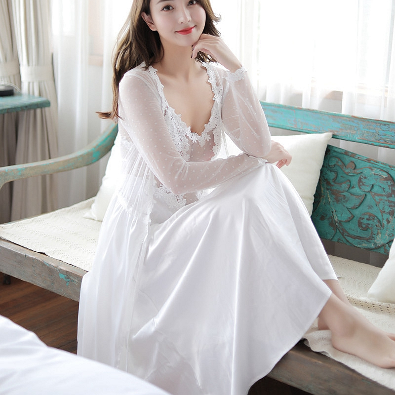 2 Piece Satin Lingerie With Robe Nightgowns Set Long Gown and Robe Set Womens Silk Women Sexy Nightwear Nighties See Through