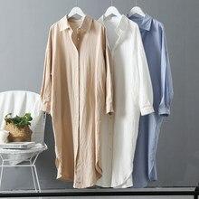 Manches longues Chemise Longue Robe Printemps Automne Décontracté Boutons Robes Lâches Robe Femme Robe