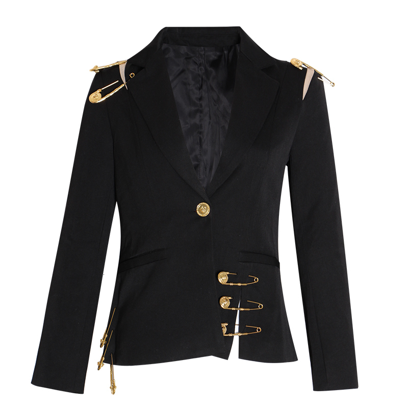 KAMIYING Hollow Out Pin Spliced Jacket Blazer New Lapel Long Sleeve Women Coat Fashion Autumn Winter new