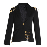 KAMIYING Elegant Pins Hollow Out Women's Blazer Notched Long Sleeve Slim Female Suits Clothing Fashion New Arrival