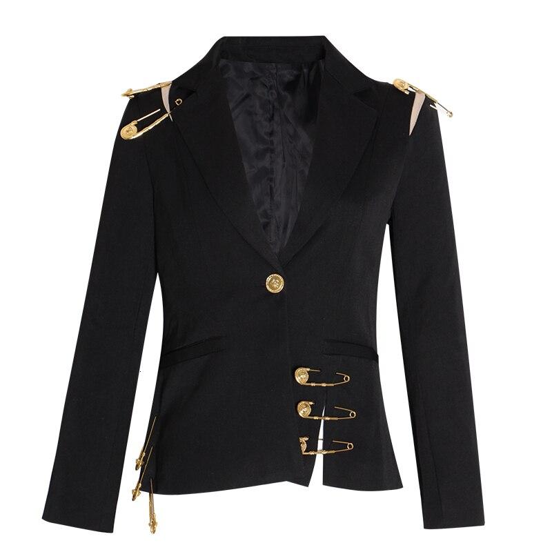 KAMIYING Hollow Out Pin Spliced Jacket Blazer New Lapel Long Sleeve Women Coat Fashion Autumn Winter New
