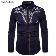 Camisa bordada para hombre, Camisa vaquera occidental, Camisa informal ajustada de manga larga a rayas doradas, camisola Camisa Masculina XXL