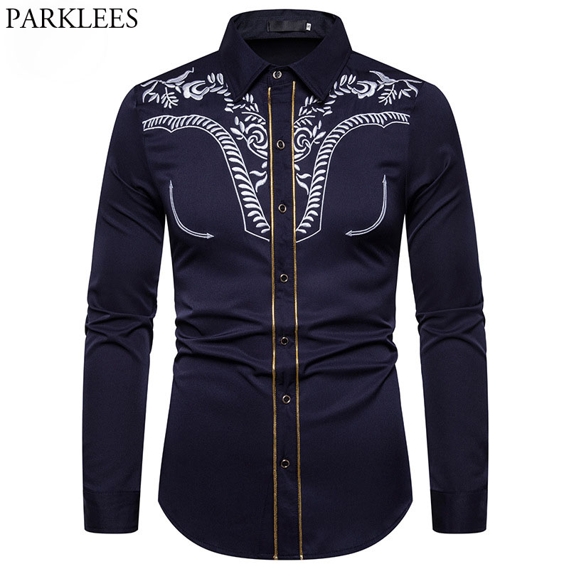 Men's Fashion Embroidered Shirt Western Cowboy Shirt Men Casual Slim Long Sleeve Gold Striped Shirt Chemise Camisa Masculina XXL