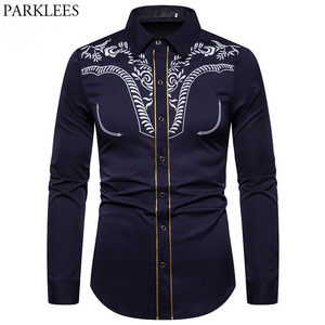 Image 1 - Mens Fashion Embroidered Shirt Western Cowboy Shirt Men Casual Slim Long Sleeve Gold Striped Shirt Chemise Camisa Masculina XXL