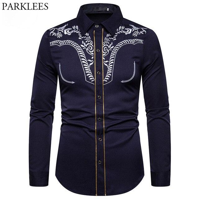 Mens Fashion Embroidered Shirt Western Cowboy Shirt Men Casual Slim Long Sleeve Gold Striped Shirt Chemise Camisa Masculina XXL