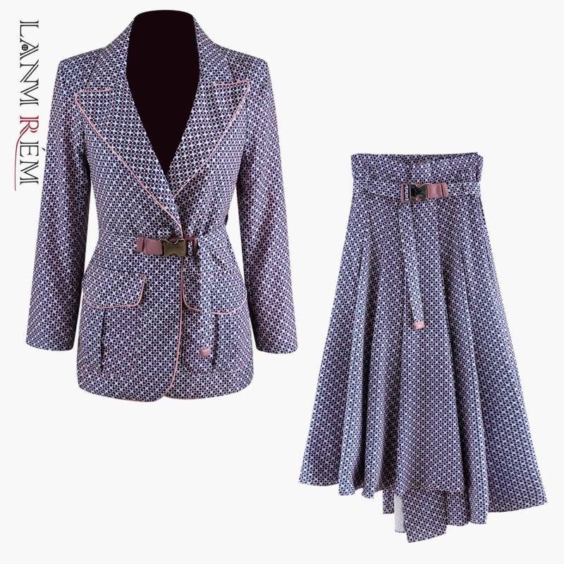 LANMREM 2020 New Spring Suit Collar Double Pocket Belt Coat And High Pleated Skirt Women Korea Fashion Loose Skirt Set PD720
