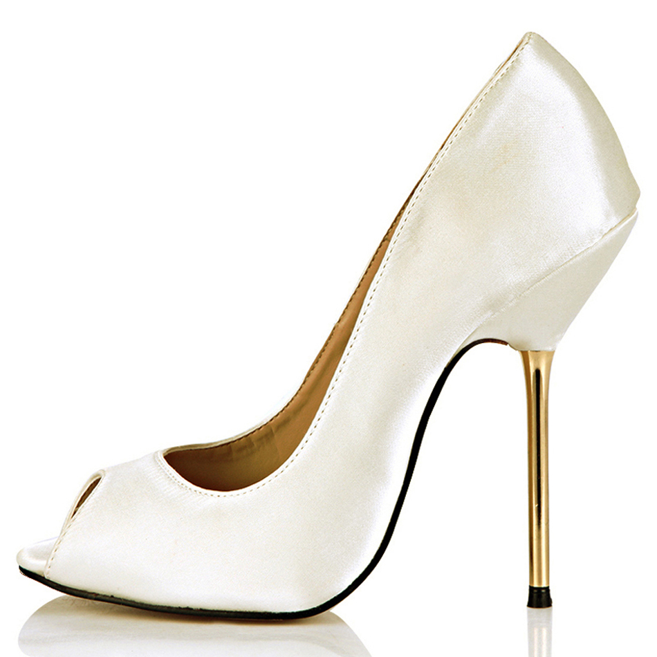 CHMILE CHAU Ivory Satin Sexy Party Shoes Women Peep Toe Stiletto Iron High Heels Lady Pumps Plus Sizes 9.5 Zapatos Mujer 3845-a5