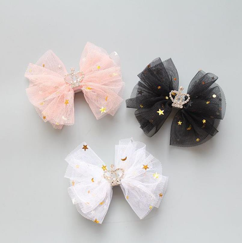 Korean Girls Elasitc Hair Band Mesh Star Hair Bows Clips Glitter Girls Hairpins Princess Party Hair Accessories Headwear Gifts