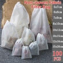 Sachets de thé en tissu Non tissé de qualité alimentaire, 100 pièces, filtre à thé, pour infuseur à thé, avec ficelle, scellé, filtre à épices