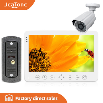 JeaTone 7'' Intercom for Home HD Wired Video Doorbell  Monitor  IR Night Vision Motion Sensor for Home Security+1200TVL Camera sunflowervdp wired intercom for private house 2 units 7 home phone 700tvl infrared night vision ccd camera doorphones in stock