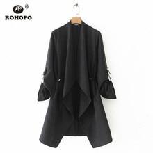 ROHOPO Women Baggy Solid Long Blazer Black Khaki Tunic Loose Ladies Autumn Windbreaker Notched Collar #19134