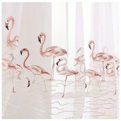 Różowa koronka ptaki flamingi haftowane woal tiul zasłony dla dzieci sypialnia salon wysokiej jakości przezroczysta zasłona panelowa