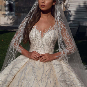 Image 2 - Glitter Ivory Bride Dresses Ball Gown Sheer Long Sleeves Appliques V Neck Bridal Style Custom Made Special Occassion Long Gowns