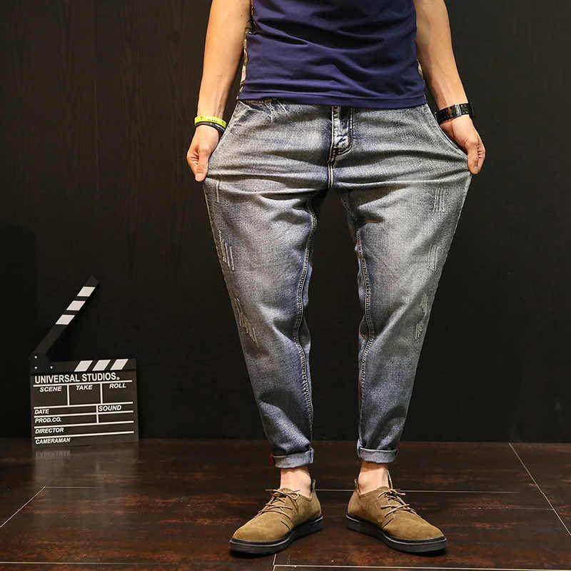 2020 nowy Plus rozmiar Retro porysowane dżinsy Homme Stretch luźny krój spodnie jeansowe ołówkowe dla mężczyzn nastolatek moda stałe spodnie Harem