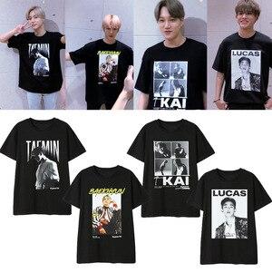 Женская хлопковая Футболка Kpop SuperM, футболка BAEKHYUN MARK KAI, летняя футболка с короткими рукавами для девушек и женщин LUCAS TEN TAEMIN TAEYONG
