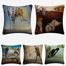 Salvador Dali Surreal Art Decorative Cotton Linen Cushion Cover 45x45cm Pillow Case For Sofa Chair Home Decor Almofada