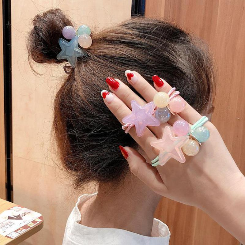 New Hair Rope High Elastic Band Headdress Jelly Five Star Hair Circle Sweet Pentagram Candy Color Headdress Accessoires