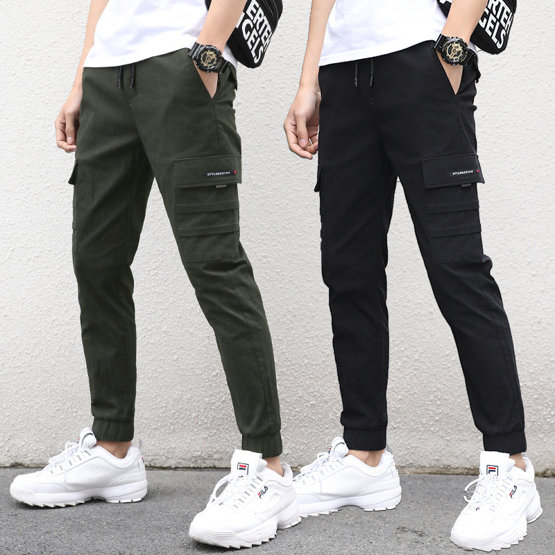 Teenager Brushed And Thick Bib Overall Autumn BOY'S Popular Brand Beam Leg Casual Students Outer Wear Pants Men's Autumn & Winte