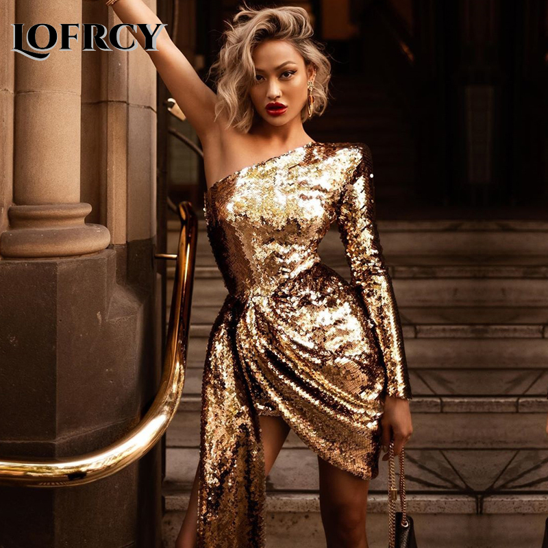 Lofrcy Women One Shoulder Long Sleeve Golden Sequin Glitter Party Dress Sexy Sparkle Elegant Shinny Draped Slim Short Mini Dress