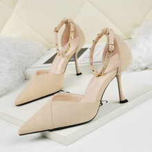 Liren 2019 Summer New Flock Women Sexy Sandals Fashion Party Women Buckle Sandals High Thin Heels Pointed Toe Shallow Lady Shoes new women sexy party sandals high heel wedding pointed toe lace thin heels black green pink summer lady female shoes ds a0323