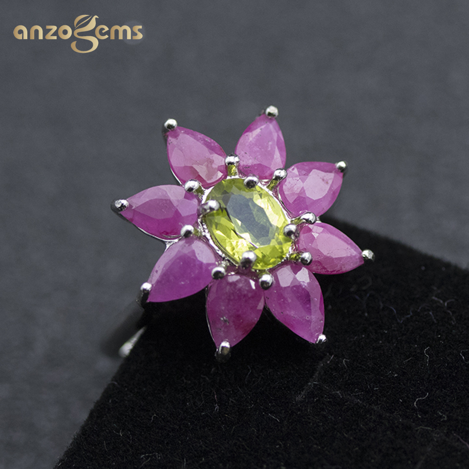 Anzogems Natural Peridot Ruby Flower Ring 925 Sterling Silver 4.5ct Gemstone Fine Jewelry For Women's Mother's Day Gift Gorgeous