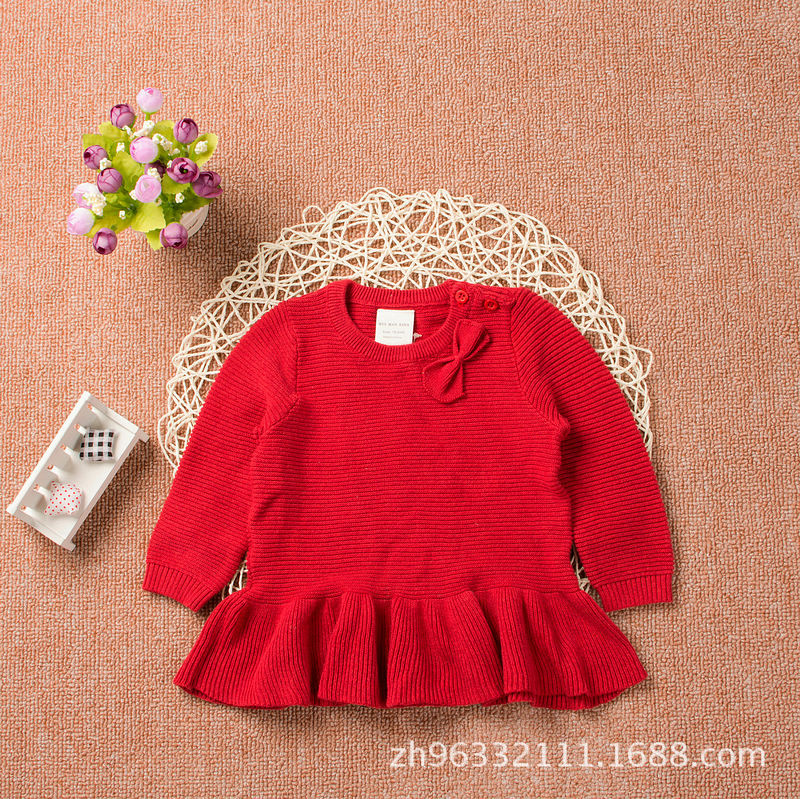 Girls' Shirt Autumn Clothing New Style Knitted Shirt Dress Skirt Long Sleeve Sweater Pure Cotton Crew Neck Pullover Bow Sweater